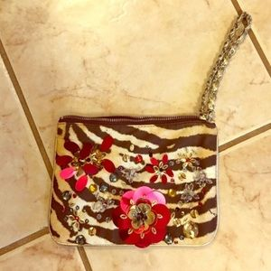 Express Animal Print Floral Patch Clutch